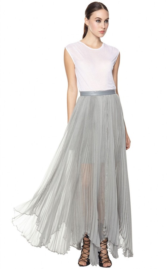 Alice   Olivia Ava High Waist Leather Waistband Pleat Maxi Skirt ...