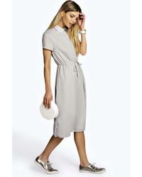 Grey Chiffon Midi Dress