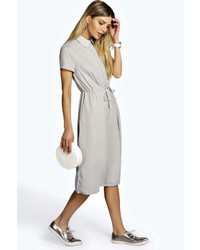 Boohoo eleanor chiffon midi shift dress medium 229909