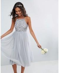 Asos Wedding Delicate Beaded Strappy Back Midi Dress