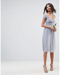 Asos Wedding Ruched Mesh Paneled Midi Dress