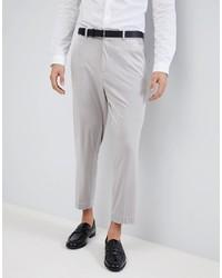 ASOS DESIGN Asos Tapered Smart Trousers In Ice Grey Velvet