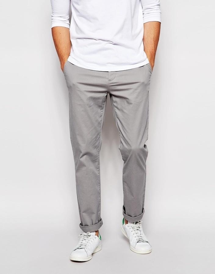 649dce7c53 Asos Brand Straight Chinos In Light Gray, $33 | Asos | Lookastic.com