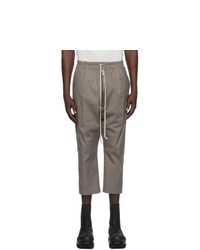 Rick Owens Grey Cropped Bela Trousers