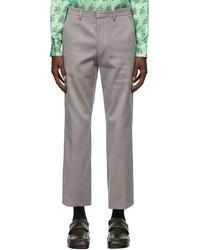 Dries Van Noten Grey Straight Leg Trousers