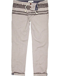 River Island Grey Stripe Top Slim Leg Marine Pants