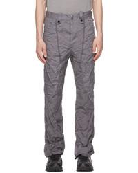 Blackmerle Grey Wrinkled Flare Trousers