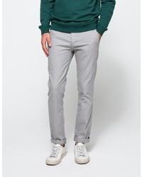 Topman Light Grey Oxford Skinny Chino