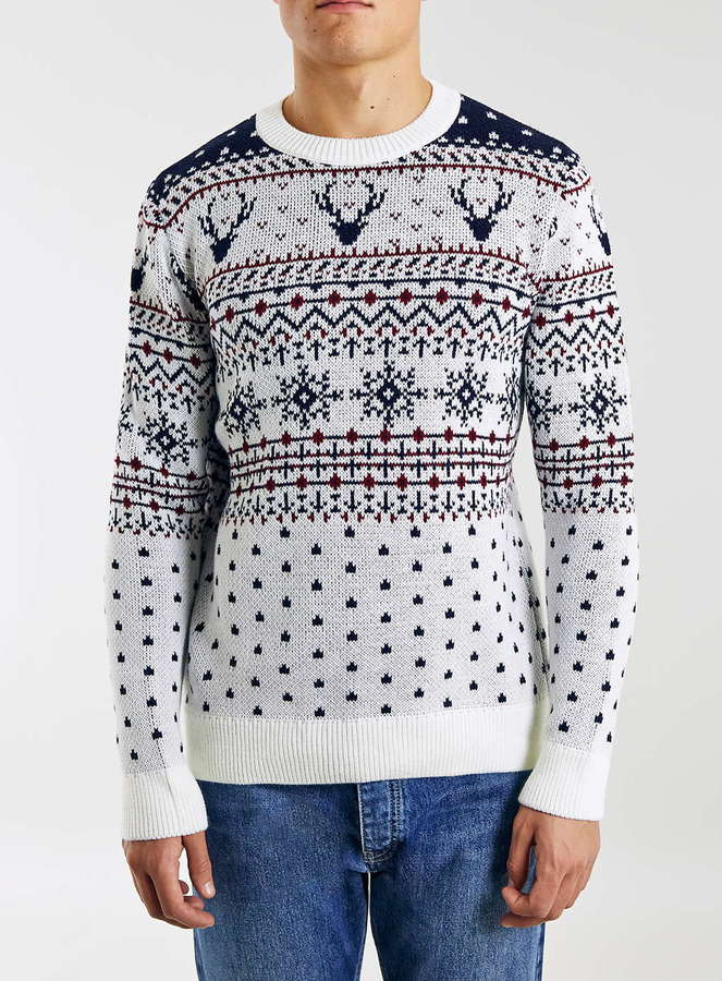 Reindeer Yoke Crew Neck Christmas Sweater