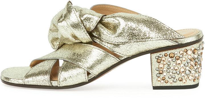 aafb5579395 Chloé Chloe Leather Bow Chunky Heel Sandal Gray Glitter