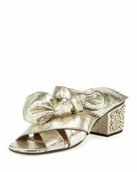 Chloé Chloe Leather Bow Chunky Heel Sandal Gray Glitter