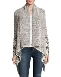Neiman Marcus Shawl Collar Open Front Cardigan Gray