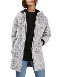 Topshop Abigail Boucle Hooded Wool Blend Coat