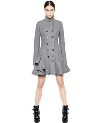 Alexander McQueen Ruffled Compact Felted Virgin Wool Coat