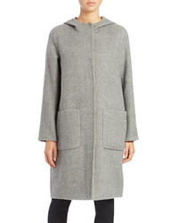 Eileen Fisher Alpaca And Wool Hooded Coat