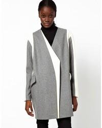 Asos Coat With Asymmetric Color Block
