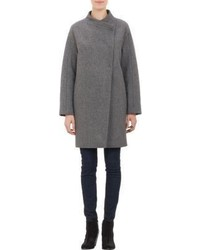 Barneys New York Asymmetric Front Cocoon Coat Grey