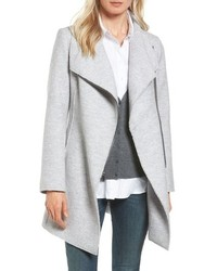 Halogen Asymmetrical Zip Boiled Wool Blend Coat