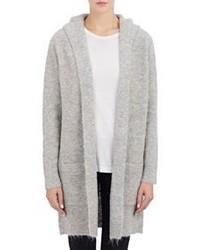 Barneys New York Fuzzy Sweater Coat Grey