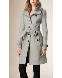 Burberry Brit Wool Blend Trench Coat With Shearling Collar