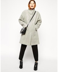 Asos Collection Oversized Coat With Funnel Neck In Hairy Wool