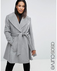 Asos Curve Curve Skater Coat In Wool Blend With Oversized Collar And Self Belt