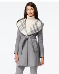 DKNY Plaid Hood Belted Coat