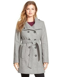 DKNY Double Breasted Wool Blend Trench Coat