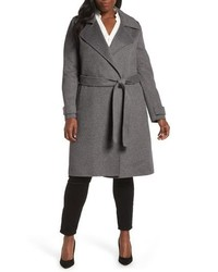 Double face wool blend wrap front coat medium 8649473
