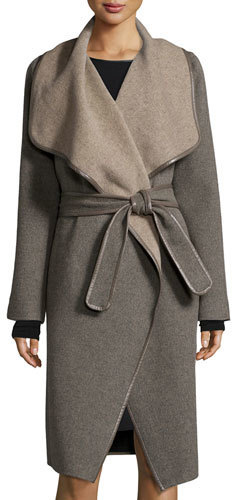 Vince Drape Front Leather Trimmed Wool Coat