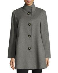 Fleurette Stand Collar Wool Cashmere Coat Gray
