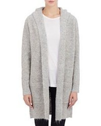 Barneys New York Fuzzy Sweater Coat Grey
