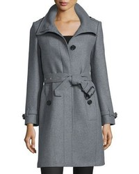 Burberry Gibbsmore Wool Blend Single Breasted Coat Steel Gray Melange