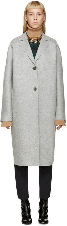 MSGM Grey Felted Wool Coat | Where to buy & how to wear