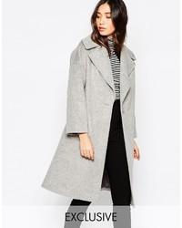Helene Berman Light Gray Oversize Collar Coat