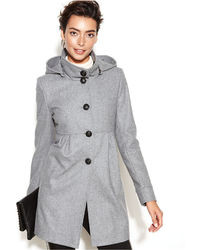 DKNY Hooded Wool Blend Babydoll Coat
