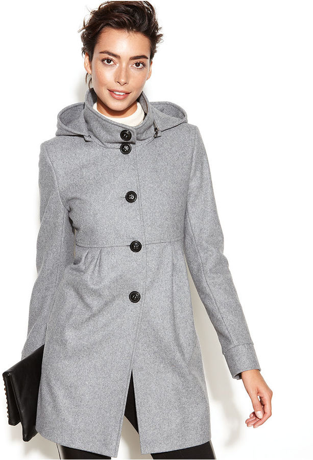 DKNY Hooded Wool Blend Babydoll Coat | Where to buy & how to wear