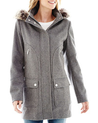 jcpenney Ana Ana Faux Fur Trim Hood Wool Blend Coat Tall