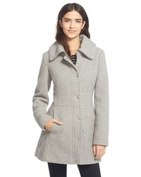 Jessica Simpson Basket Weave Fit Flare Coat