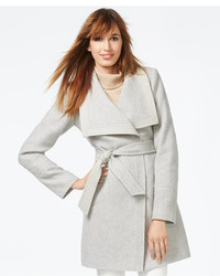 Jessica Simpson Faux Leather Trim Belted Wrap Coat
