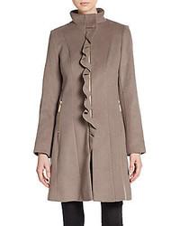 T Tahari Kenya Ruffle Front Wool Blend Coat