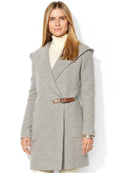 Lauren Ralph Lauren Hooded Herringbone Wool Cashmere Blend Wrap Coat