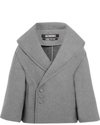Jacquemus Le Caban Oversized Wool Blend Coat Light Gray