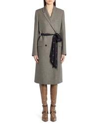 Fendi Logo Belt Wool Coat