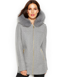 MICHAEL Michael Kors Michl Michl Kors Fur Trim Hooded Wool Blend Coat