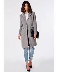 Missguided Hether Textured Tailored Boyfriend Coat Grey