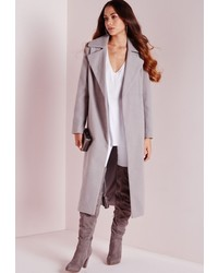 Missguided Oversized Wool Coat Light Grey