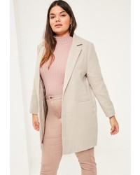 Missguided Plus Size Grey Faux Wool Coat