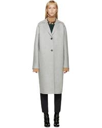 MSGM Grey Felted Wool Coat
