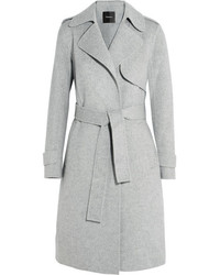 Theory Oaklane Brushed Wool And Cashmere Blend Coat Gray